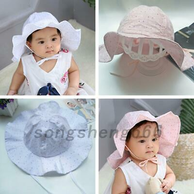 Baby Toddler Kid Girl Outdoor Sun Hat Brim Summer Bucket Hats Beach Headwear Cap