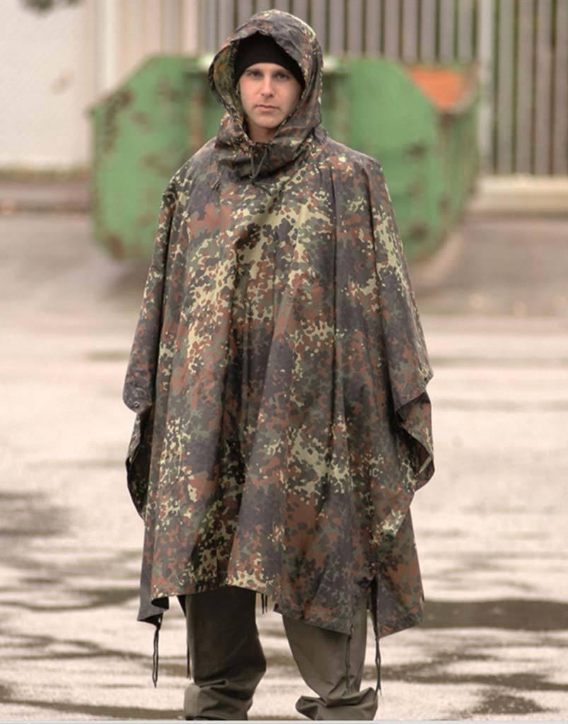 Poncho Ripstop camuflaje camuflaje camuflaje Flecktarn alemán - proteccion lluvia - agua impermeable 7f06d2