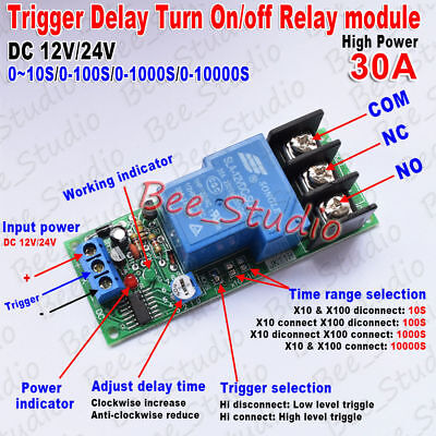 DC 12V//24V Trigger Delay Turn ON//Off Relay Module High Current 30A High Power