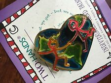 """Real Retro Pin, """"We Are The World"""" Design, Hand Painted, Two Hands, Inc."""