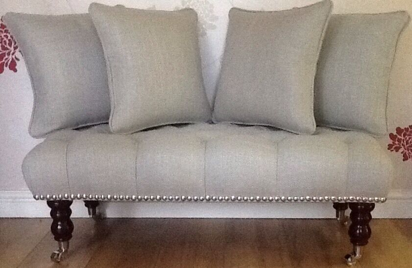 Long Buttoned Footstool Stool 4 Cushions In Laura Ashley Dalton Dove grau Fabric
