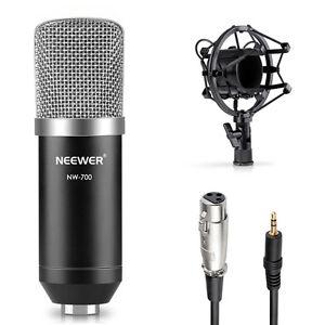 Neewer-NW-700-Noir-Microphone-a-condensateur-Kit-avec-Shock-Mount-anti-vent-Cap