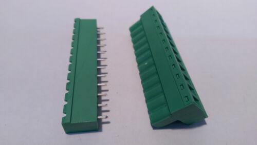 Bloque terminal enchufable de 10 X 300V 15A 5.08mm Pitch tornillo de montaje de PCB 3-12 polos