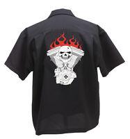 Skull & Evo Motor Polyester Black Shirt