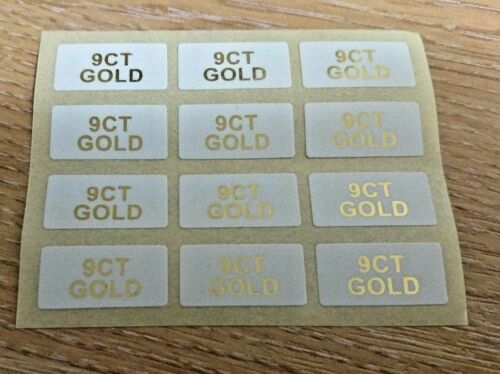 9CT GOLD Jewellery Labels Stickers 20mm x 10mm Gold on White or Black on White