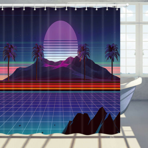 Details about  /Psychedelic Coconut Island Sunrise Shower Curtain Bathroom Decor Fabric /& 71in
