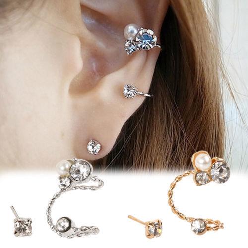 Fashion Womens Lady Elegant Pearl Rhinestone Ear Clip Ear Stud Earrings Jewelry