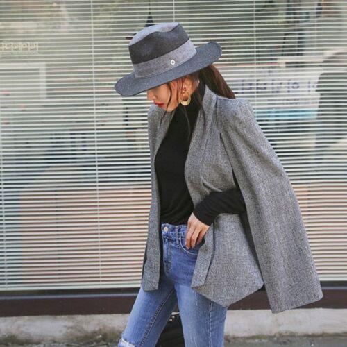 Lady Cape Cardigan Jacket Ladies Open Placket Blazer Long Cloak Coat Suit Modern
