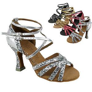 Women-039-s-Salsa-Ballroom-Tango-Black-Red-Silver-Dance-Shoes-2-5-3-Very-Fine-C5008M
