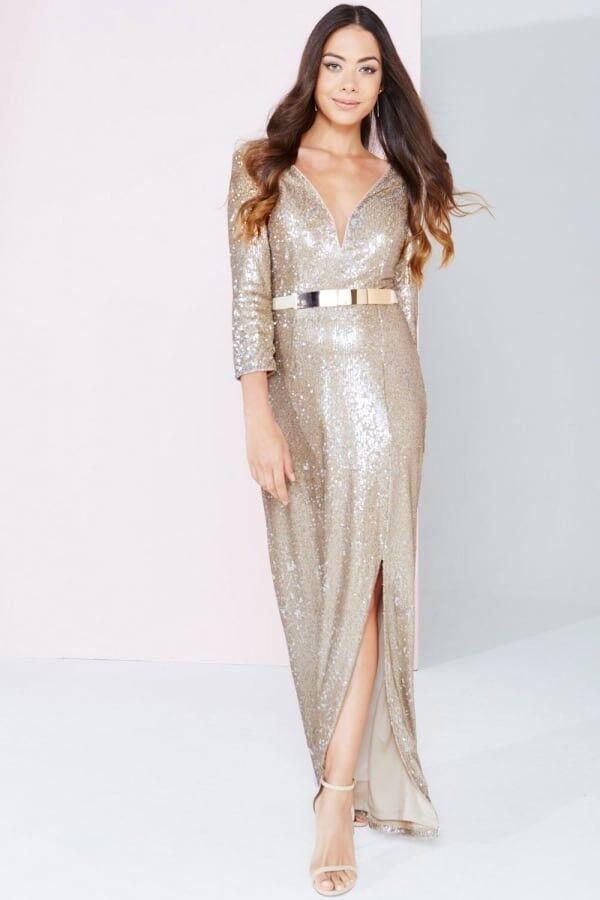 Little Mistress gold Sequins Maxi Dress Size 8 Party Evening Summer Dress
