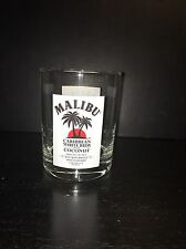 "Malibu Caribbean White Rum with Coconut Low Ball Tumbler Glass 4"" Tall"