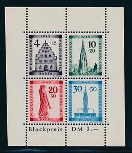 BADEN-1949-Block-1-A-PLF-IV-034-Plattenfehler-034-Tadellos-Mi-300