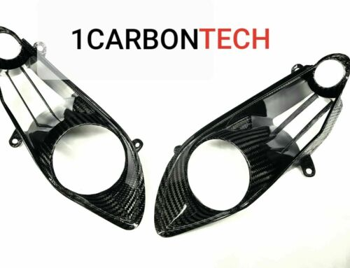 09-2011 YAMAHA YZF R1 CARBON FIBER HEADLIGHT TRIMS HEAD LIGHT COVERS NOSE
