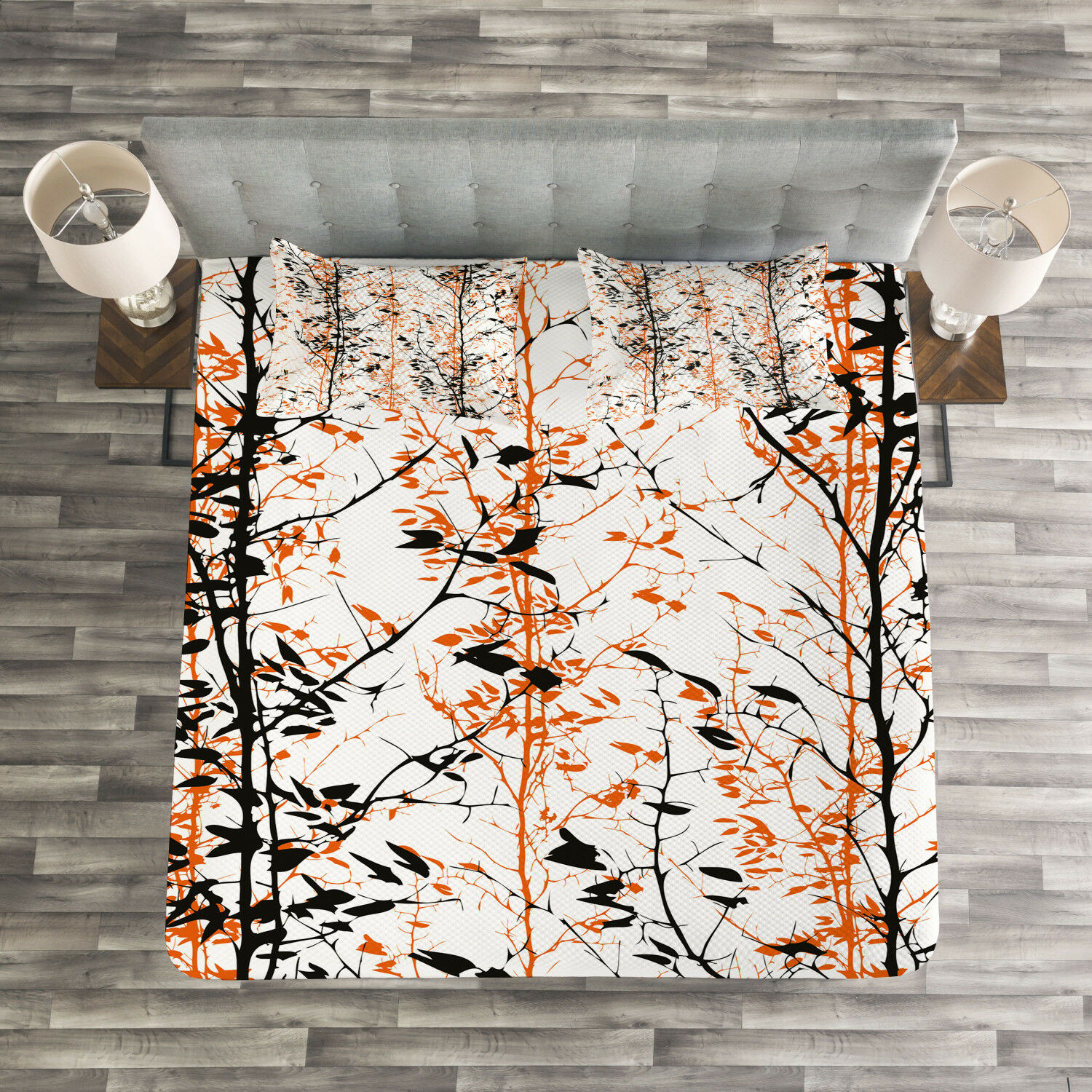 Modern Quilted Bedspread & Pillow Shams Set, Tree Silhouettes Artwork Print