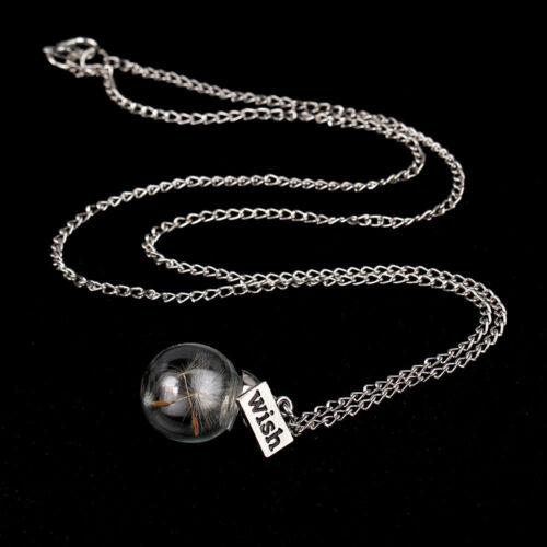 Collar 3d amuleto de diente de león diente de león set cadena remolque suerte de vidrio
