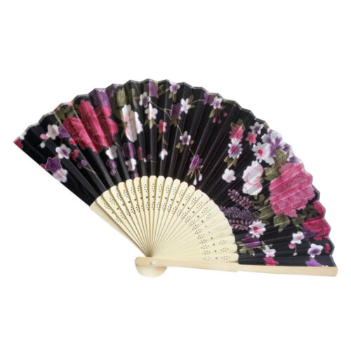 Vintage Style Bamboo Folding Hand Held Floral Fan Chinese Dance Party Pocket Hot