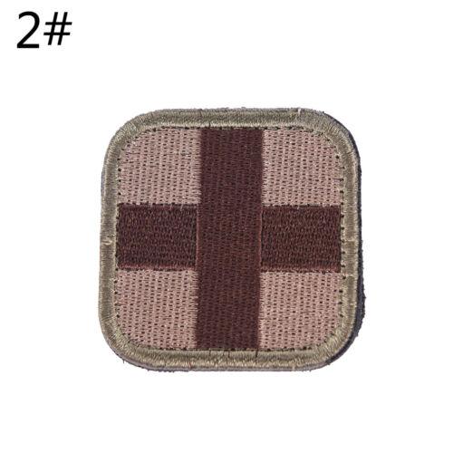 Outdoor Survival First Aid PVC Red Cross Hook Loop Fastener Badge Patch 5×5cSPUK