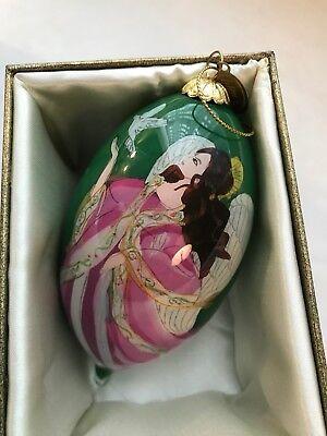Pier 1 Hand Painted Li Bien Glass Teardrop Ornament 2014 Angel W// Doves