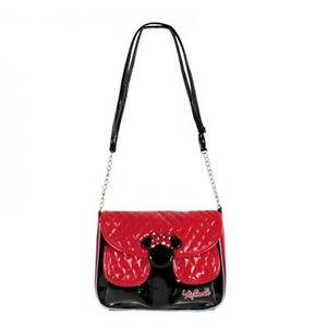 Dettagli su MINNIE borsa tracolla regolabile in eco pelle trapuntata nera e rossa 18x23x4,5