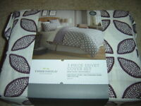 Threshold 3 Piece Full / Queen Duvet Cover Set - Ivory + Oatmeal Color -