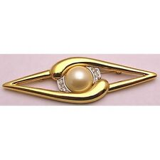 Vintage Large MONET Pin Brooch w/ Rhinestones & 17mm Simulated Pearl Gold Tone
