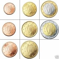 GENUINE IRISH CIRCULATED CURRENCY SET EURO COINS EIRE HARP REPUBLIC OF IRELAND
