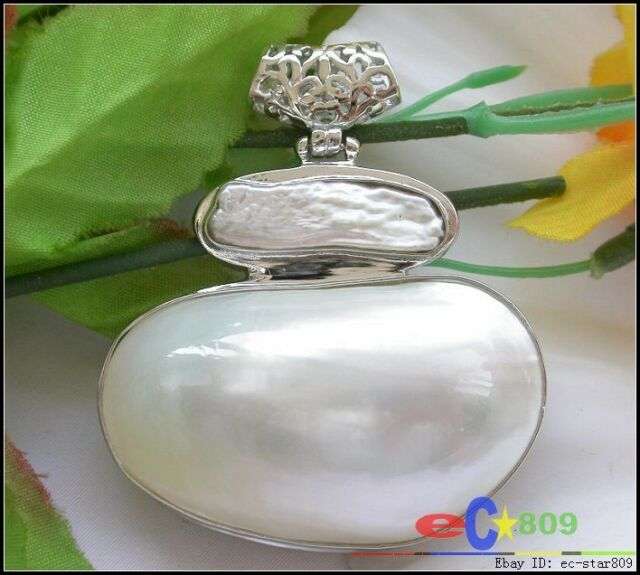 p2545 HUGE 45MM crescent white shell mabe pearl pendant