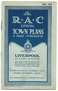 LIVERPOOL-1924-RAC-Official-Town-Plan-amp-Road-Itineraries-no-63-Ed-Burrow-booklet