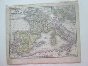 Map Of Spain Geography.1852 S Augustus Mitchell S Map France Spain Portugal