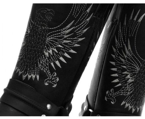motociclista Unisex da nero Grinders Stivali New Eagle Bald pelle cowboy del in Boot UZPq5g