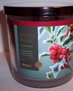NEW! Kohls Sonoma Christmas 2020 WINTER BERRY & SPRUCE 3 Wick Jar