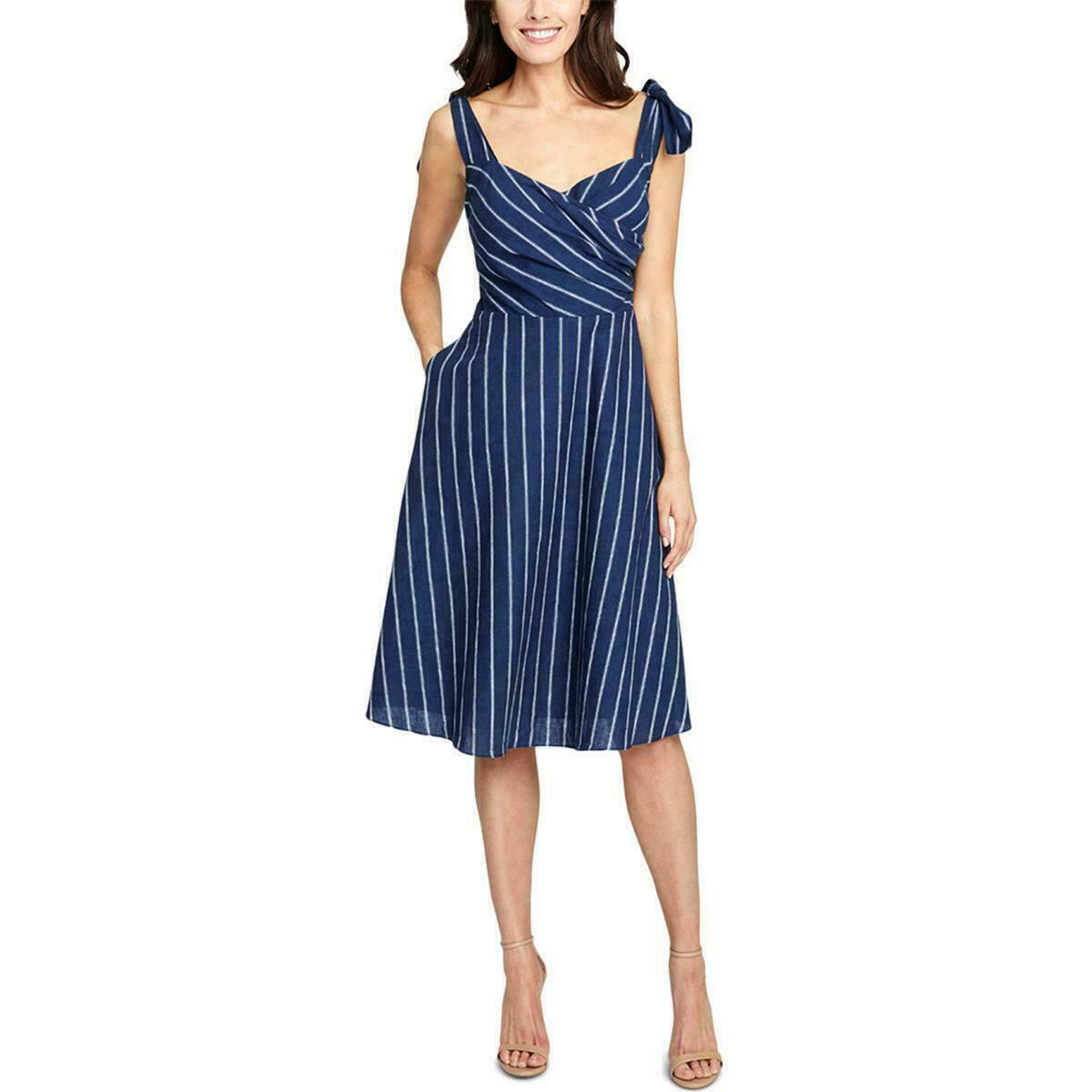 RACHEL Rachel Roy Womens Size 2 Blue Linen Striped Daytime Kate Dress NEW $150
