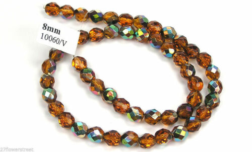 """16/"""" strand Czech Fire Polished Round Faceted Beads in Topaz Vitrail coated"""