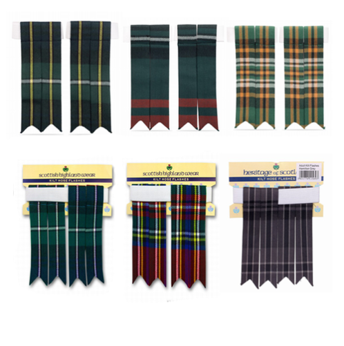 Mens 100% Polyviscose Kilt Hose Flashes - Various Tartans - with Garters