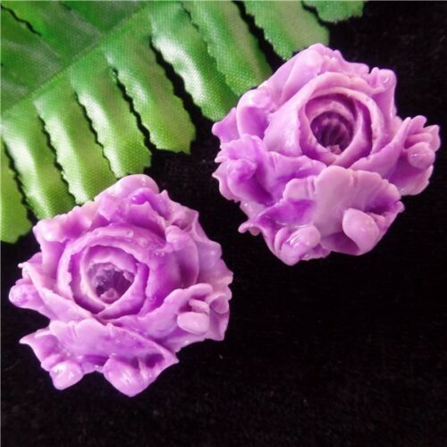 2Pcs Delicado Bonito Púrpura Tridacna Flor Tallada En Colgante Perla 35x21mm AE1218