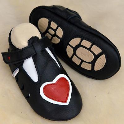 Onestà Pantofole's Baby Scarpe Pantofole Liya - #697 Sommerrpuschen Cuore In Nero- Squisito Artigianato;