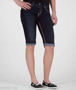 72a79d2b993 New Silver Jeans Juniors Suki Rose Surplus Capri Dark Wash Denim ...