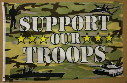US SUPPORT OUR TROOPS FLAG 3/'x5/' CAMO UNITED STATES PATRIOTIC USA MILITARY