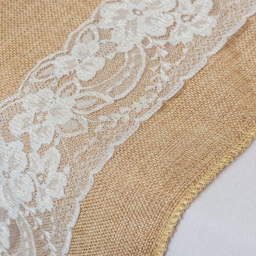 Jute Mariage Chaise Écharpe 17.8cm X 274cm Vintage Style Concu Avec Blanc Noeuds