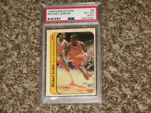 Michael-Jordan-1986-Fleer-Rookie-Card-RC-Sticker-PSA-6-ST-1986-87-Bulls-RARE