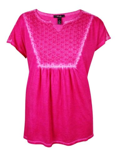 Women/'s Eyelet Trim Dyed Cotton Top Style /& Co 1X, Pink Breeze
