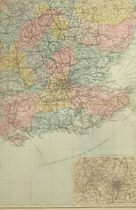 1891-ANTIQUE-MAP-SOUTH-EAST-ENGLAND-BIRMINGHAM-SUSSEX-LONDON-ESSEX-SUFFOLK