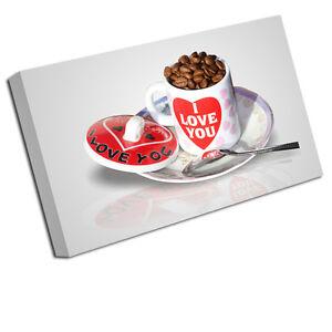Toile Art Imprimés Je T'aime Tasse De Café Cuisine Image Murale Petit - 12 Pouces X 8 Pouces, moyen 16 Pouces, grand 24 Pouces, xlarge 30 20 Pouces, xxlarge 36 Pouces, xxxlarge 42 Po