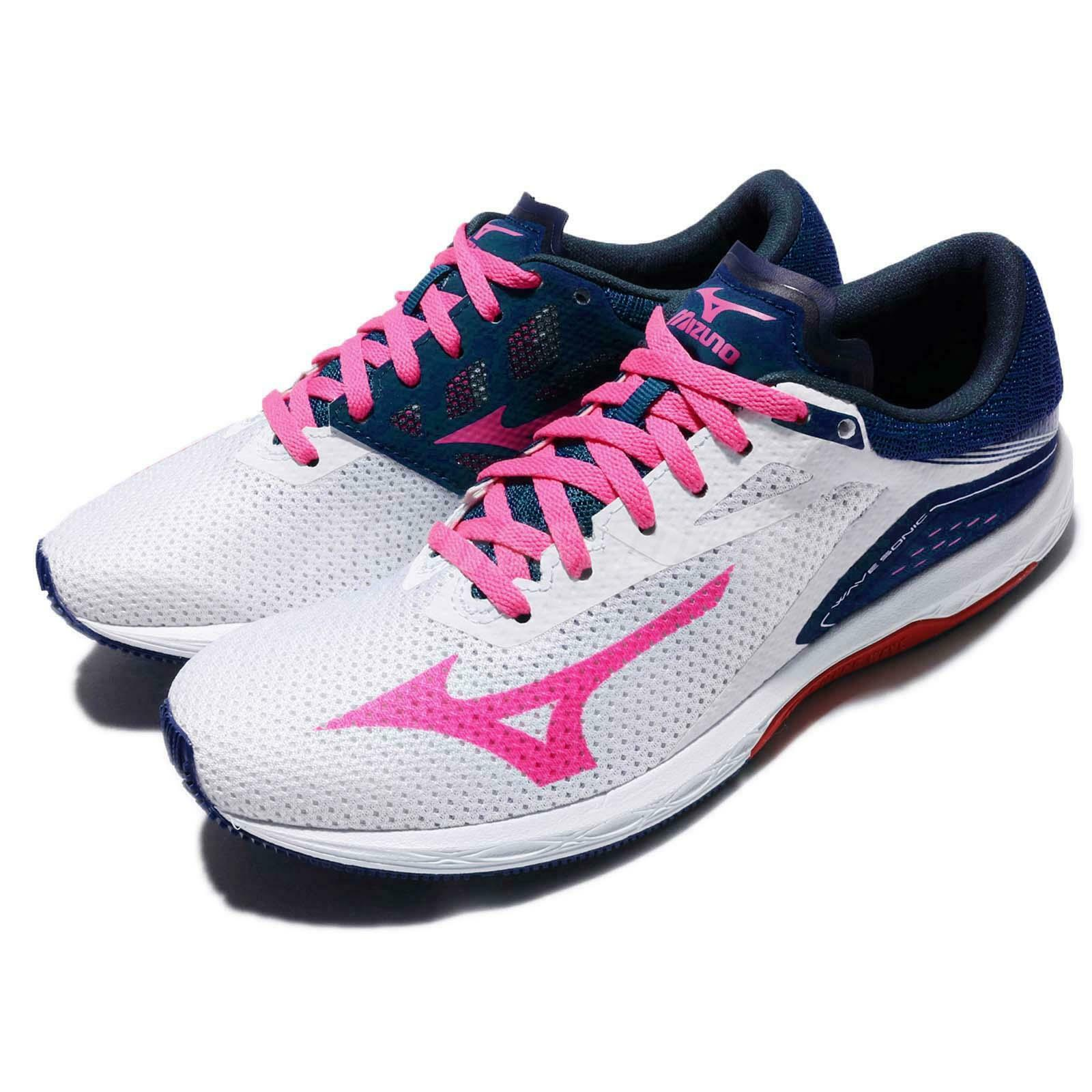 Mizuno Wave Sonic White Pink bluee Women Running shoes Sneakers J1GD1734-63