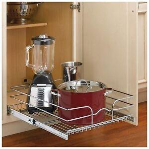 Rev a shelf kitchen cabinet pan storage organizer rack basket pull out sliding ebay - Cabinet pull out pot rack ...