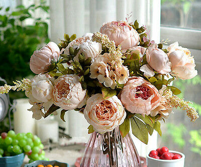 Artificial Bridal Bouquet Peony Silk Flowers Fake Leaf Home Wedding Party Decor