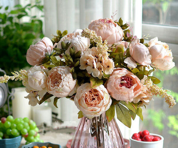 Artificial Peony Silk Flower Leaf Bouquet Home Party Wedding Garden Decoration