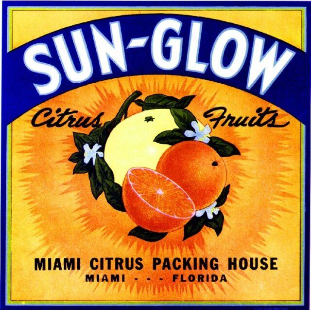 Miami Florida Sun-Glow Orange Citrus Fruit Crate Label Art Print