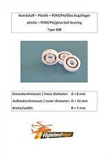 Leichtbau Kunststoff Kugellager 608 POM PA GLAS Plastic Bearing 8x22x7 mm