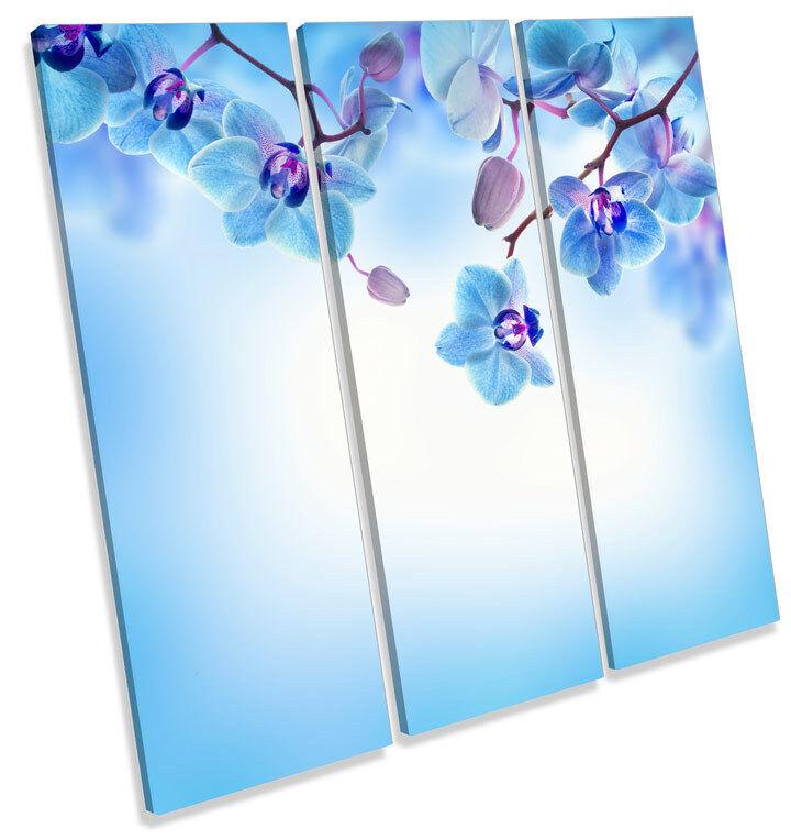 Blau Floral Flowers CANVAS WALL ART TREBLE Square Print Picture